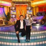 Михаил Михайлов и дочь Аня на Поле Чудес 16.04.2010